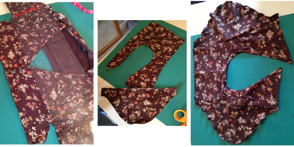 We cut off the shoulders just above the cute little buttons. Then cut off the sleeves around the shoulder and cut straight across a few inches below that. the attached the sleeve back onto the shoulders on the straight cut side. We used a stitch along the bottom of the sleeve to give it a finished look without a hem.