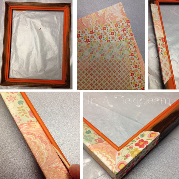 Orange patchwork frame
