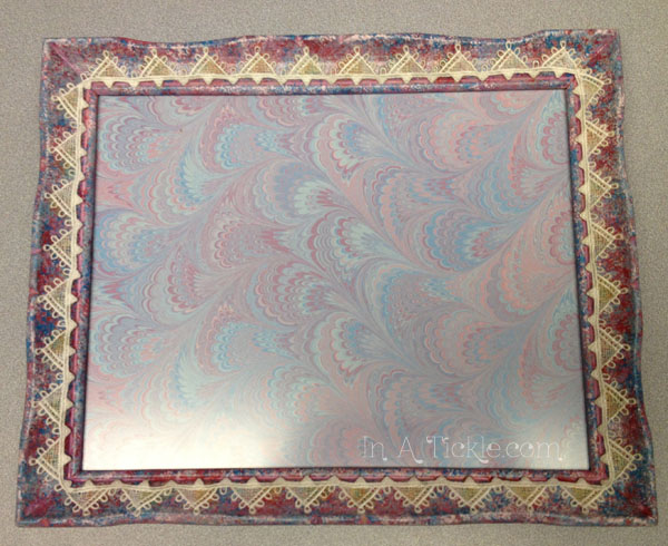 Sponge painted  frame with lace trim
