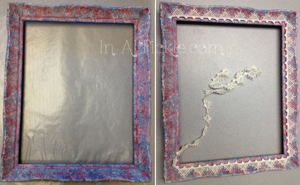 Sponge painted frame with lace