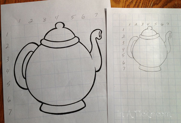 Teapot reduction grid drawing