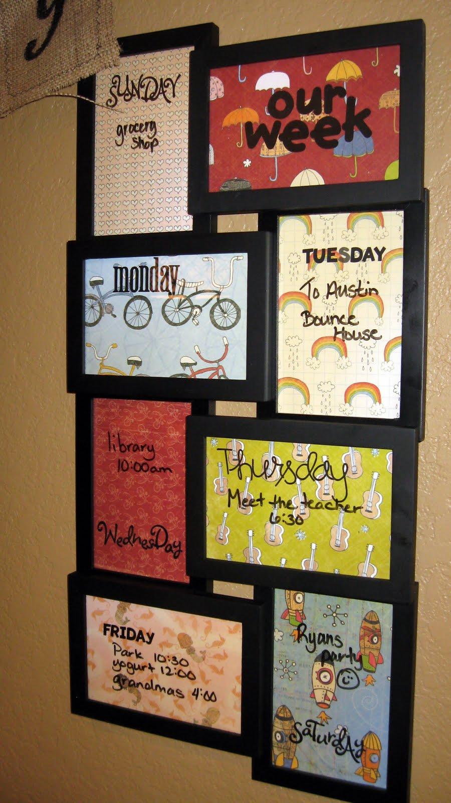 Weekly Calendar Board : New look for old frames transform it tuesday in a tickle