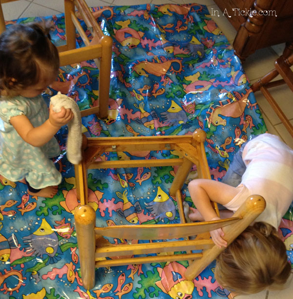 girls cleaning chairs