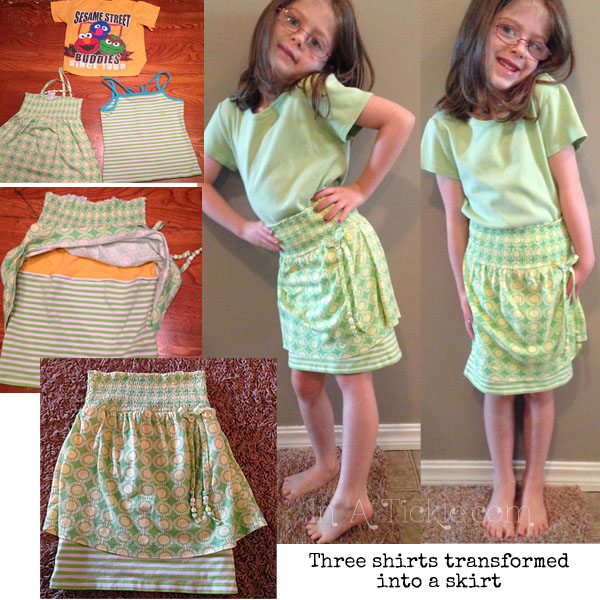 3 Shirts transformed to Skirt