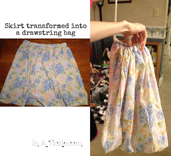 Skirt to Drawstring Bag
