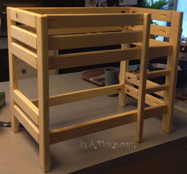 Unfinished doll bunk bed
