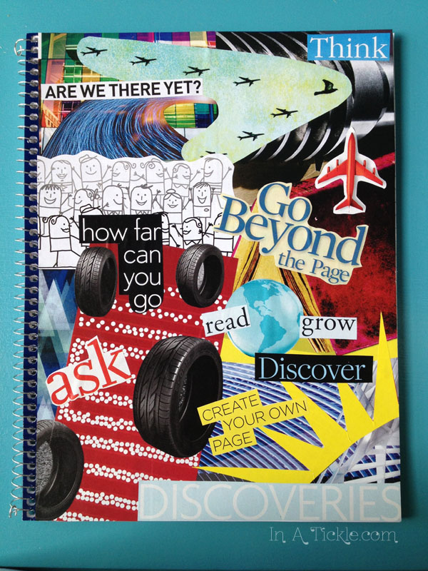 Notebook with magazine collage