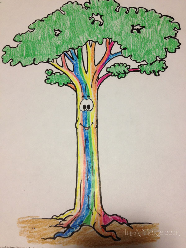 rainbow colored tree