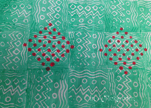 Hand Printed Fabric Green Pink