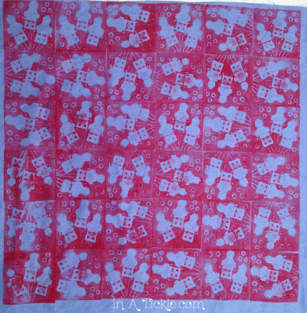 Space men stamped fabric