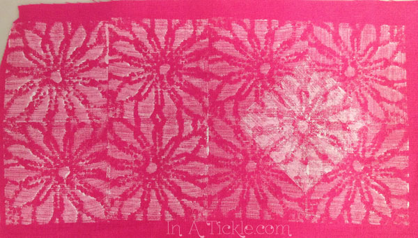 stamped pink fabric