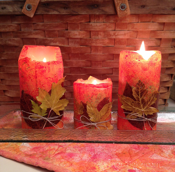 Painted Candles with leaves