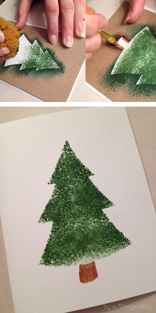 Sponge Painted Stencil Tree