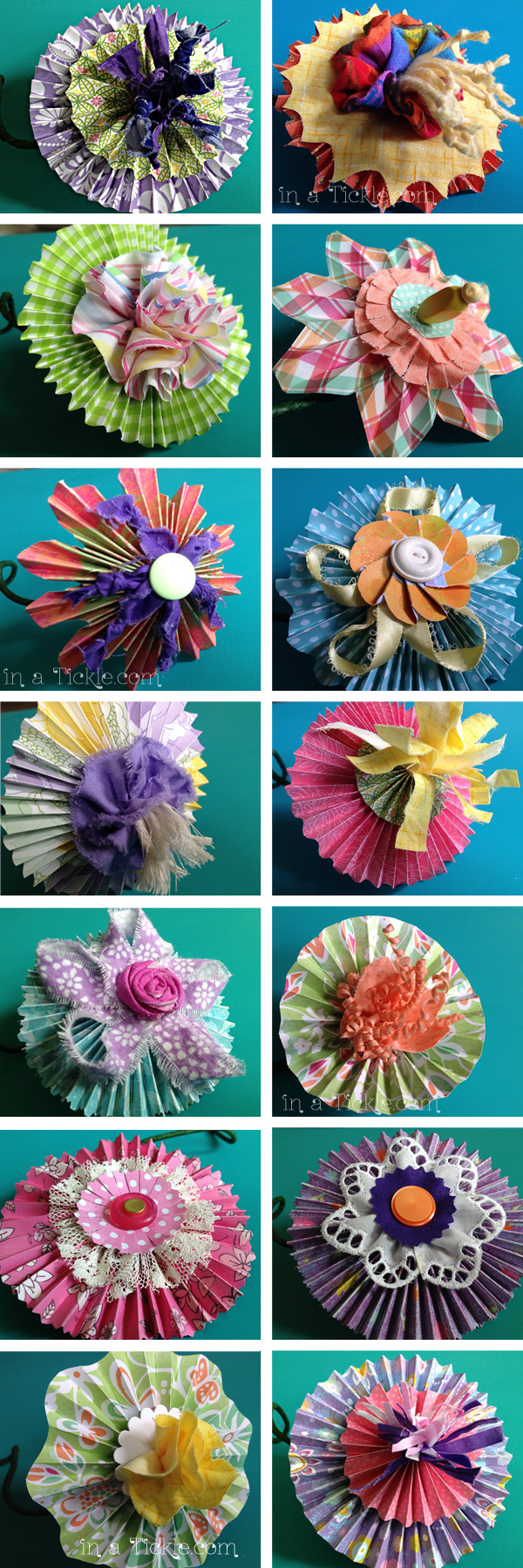 Whimsical Flowers From Paper And Fabric In A Tickle