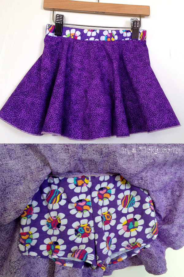 Serged Circle Skirt over Shorts