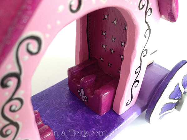 Handmade Wooden Doll Carriage Inside