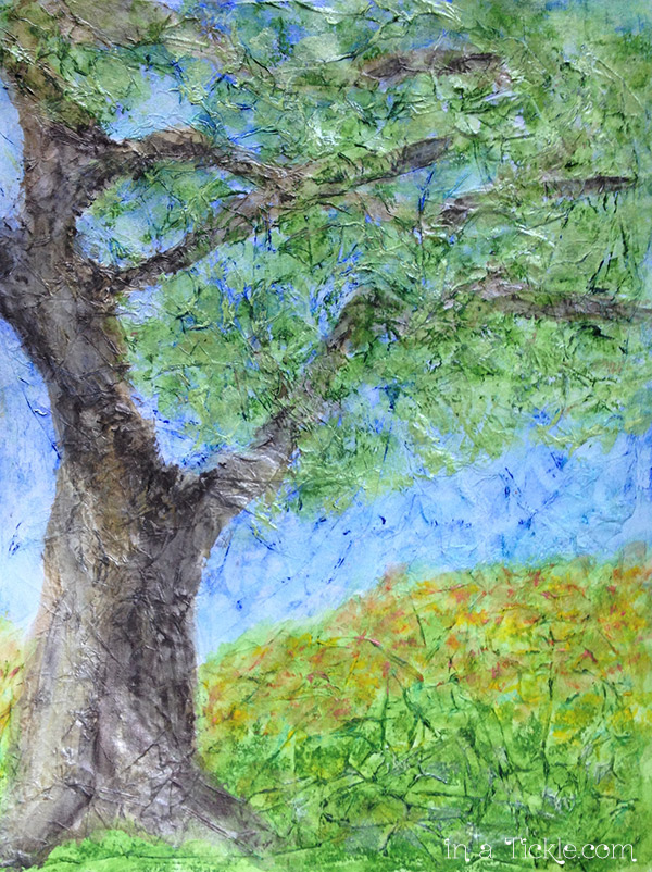 Textured-Paper Tree-Mixed-Media