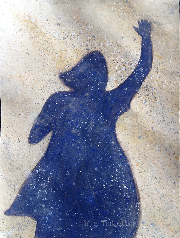 Waving-girl beach shadow watercolor